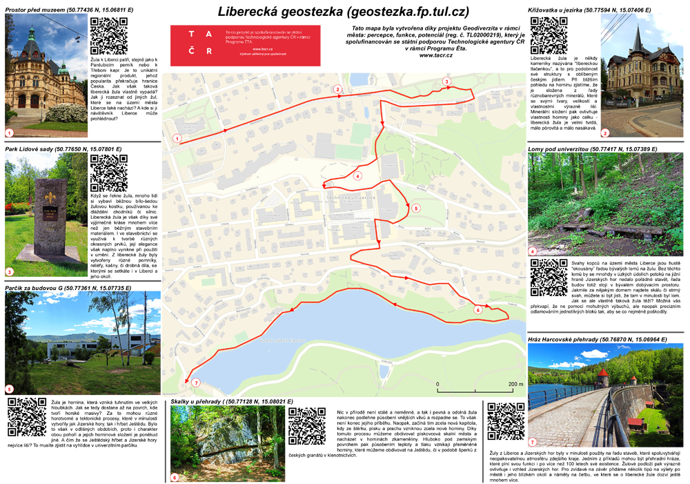 Liberecká geostezka – mapa